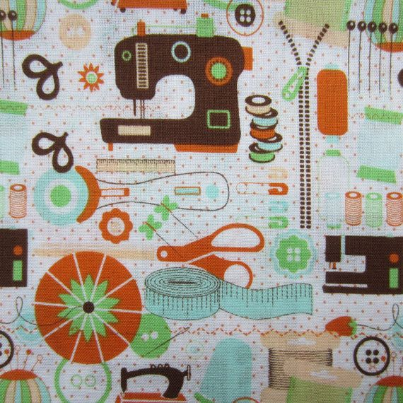 Fabric cotton print m quot sewing machine themed