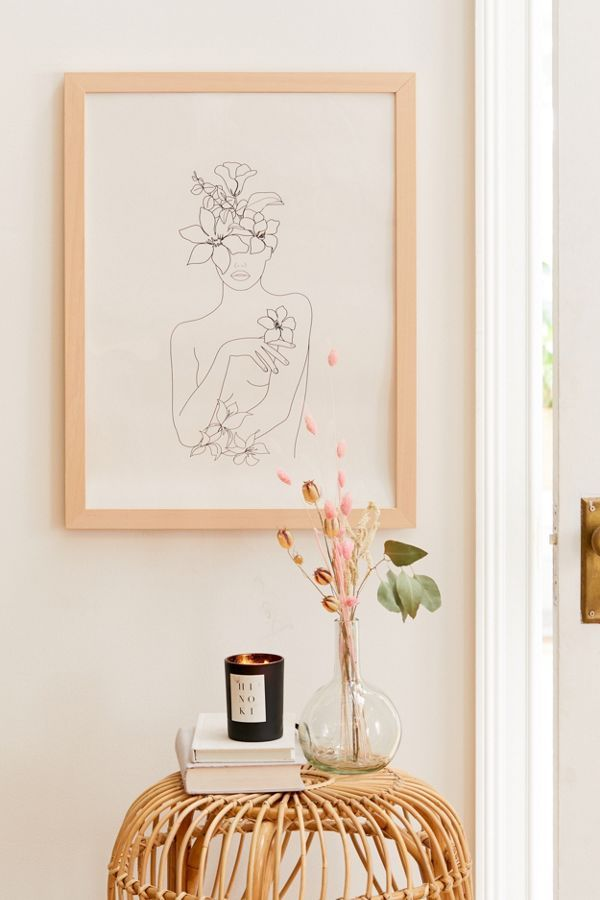Nadja Line Art Woman With Flowers IV Art Print – Urban Outfitters