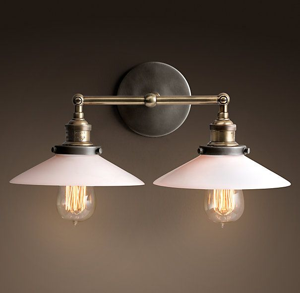20th c factory filament milk glass double sconce aged steel restoration hardware 175 ea Restoration bathroom lighting