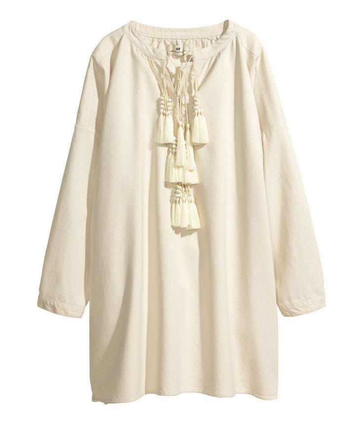 H M Spring Collection 2014 Boho Chic Beige Tassel Tunic Dress UK 10 12 EUR 36 38 | eBay