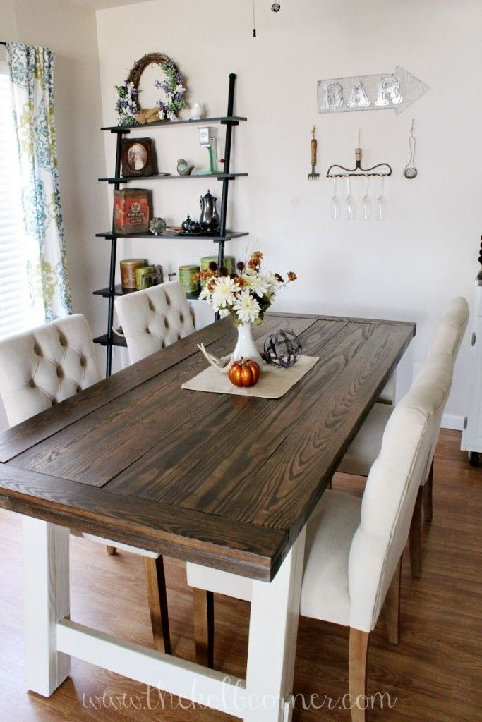 DIY Farmhouse Style Dining Table http://thekolbcorner.com/diy-farmhouse-style-dining-table/