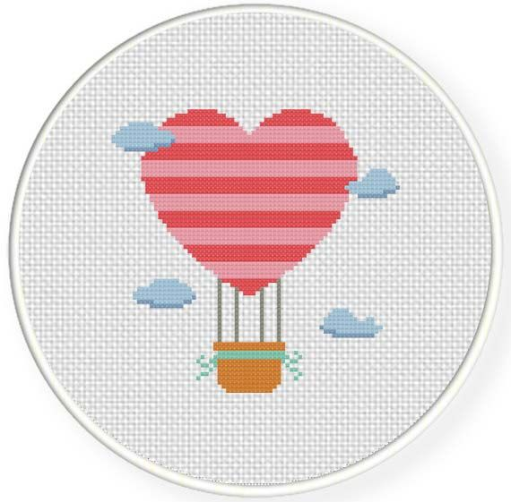 FREE for May 21st Only - Heart Air Balloon Cross Stitch Pattern