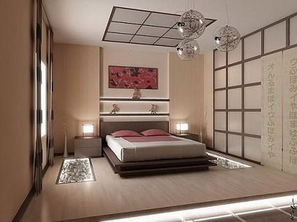 Japanese Lighting Art with Modern Beds Furniture Sets in Modern Asian Bedroom Interior Decorating Designs Ideas