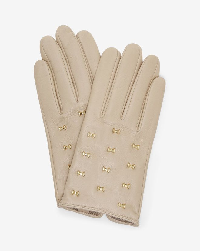 Micro bow leather gloves - Camel   Gloves   Ted Baker