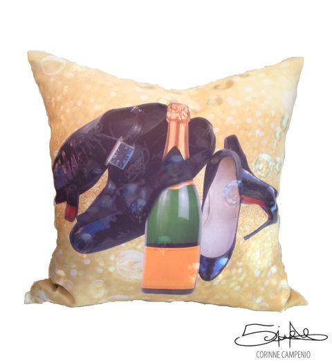 #champagne #cushion #home #christmas #gift #accessory #decor #art #designer #shoes