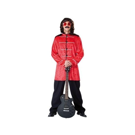 Jaren 70 pop kostuum rood voor heren. Het kostuum bestaat uit een jas en broek.