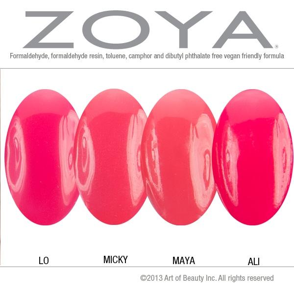 Zoya Nail Polish In Micky Compared With Lo, Maya And Ali