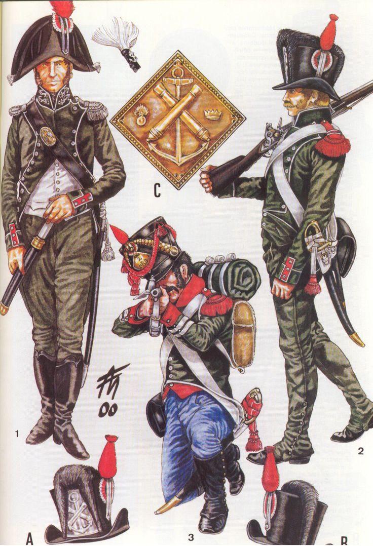 Italian; Naval Forces. Captain de Frigate, Grande Tenue, 1802-04, 2nd Battalion Dalmate, Carabiner Corporal,Winter Grande Tenue, 1807 & Marine Gunner 1st Class, Winter Grande Tenue, 1804