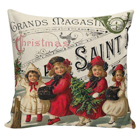 Christmas Pillow Vintage Holiday Santa French Style Burlap Etsy Christmas Pillow Cotton Throw Pillow Covers Burlap Pillows