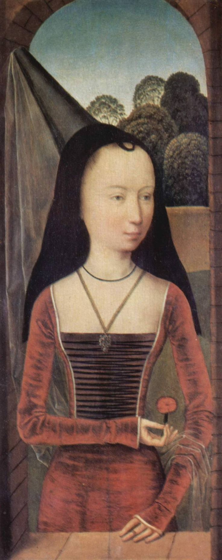 Young woman in a conical hennin with black velvet lappets or brim and a sheer veil, from the Allegory of True Love, by Hans Memling, 1485–90