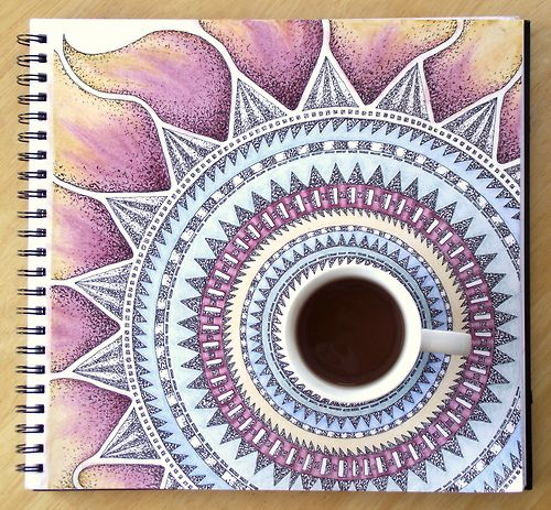 Morning patterns and morning coffee, art piece in pen and pencil by Rebecca Blair