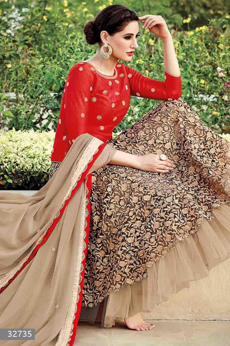 Nargis Fakhri - Beige and Red Silk and Net Anarkali Suit with Embroidered and Lace Work - Z2570P32735-1 #designer #salwar #kameez @ http://zohraa.com/salwar-kameez.html #zohraa #onlineshop #womensfashion #womenswear #bollywood #look #diva #party #shopping #online #beautiful #salwar #kameez #beauty #glam #shoppingonline #styles #stylish #model #fashionista #women #lifestyle #girls #anarkali #suit #nargisfakhri