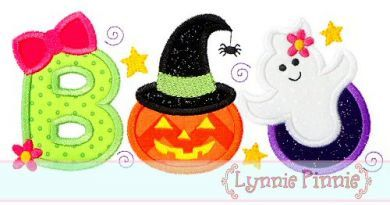 GIRLY BOO Applique 4x4 5x7 6x10 Machine Embroidery Design Halloween pumpkin by LynniePinnie on Etsy https://www.etsy.com/listing/202976157/girly-boo-applique-4x4-5x7-6x10-machine
