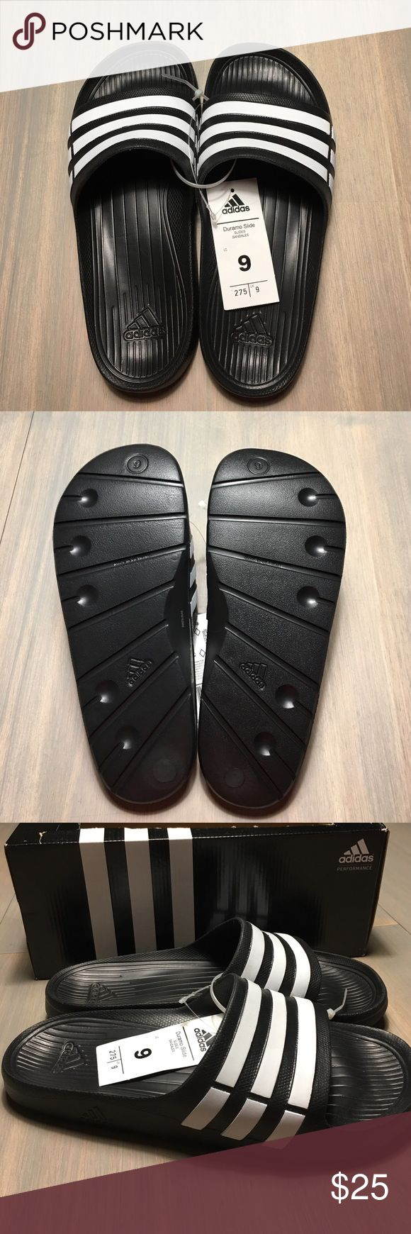 Adidas Duramo Slides - Size 9 - NIB Comfortable slides in black/white stripes. Brand new with box - never worn. Gender neutral. Size 9 for men or women with wide feet. Would fit women size 10-10.5. Message me for measurements. Adidas Shoes Sandals & Flip-Flops
