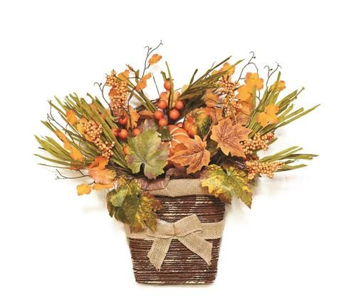 """18"""""""" Autumn Harvest Artificial Pumpkins Berries Leaves and Grass Wall Mounted Basket Decoration"""