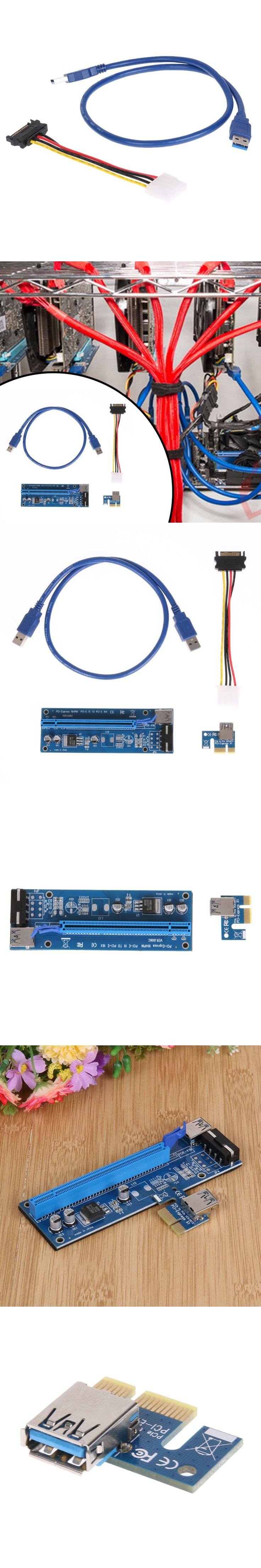 60cm PCI Express PCI-E 1X to 16X Riser Card Extender + USB 3.0 Cable / 15Pin SATA to 4Pin IDE Molex Power Wire for BTC Miner