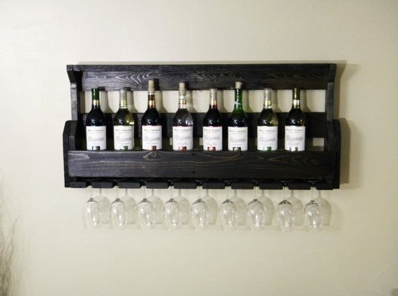 Black Wine Rack, Wine Rack, Unique Wine Rack, Wall Wine Rack, Pallet Wine Rack, Kitchen Decor, Christmas Gift, Primitive Home Decor, Rustic on Etsy, $105.00