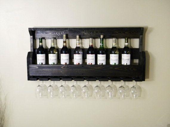 Black Wine Rack, Wine Rack, Unique Wine Rack, Wall Wine Rack, Christmas Gift, Kitchen Decor, Christmas Gift, Primitive Home Decor, Rustic