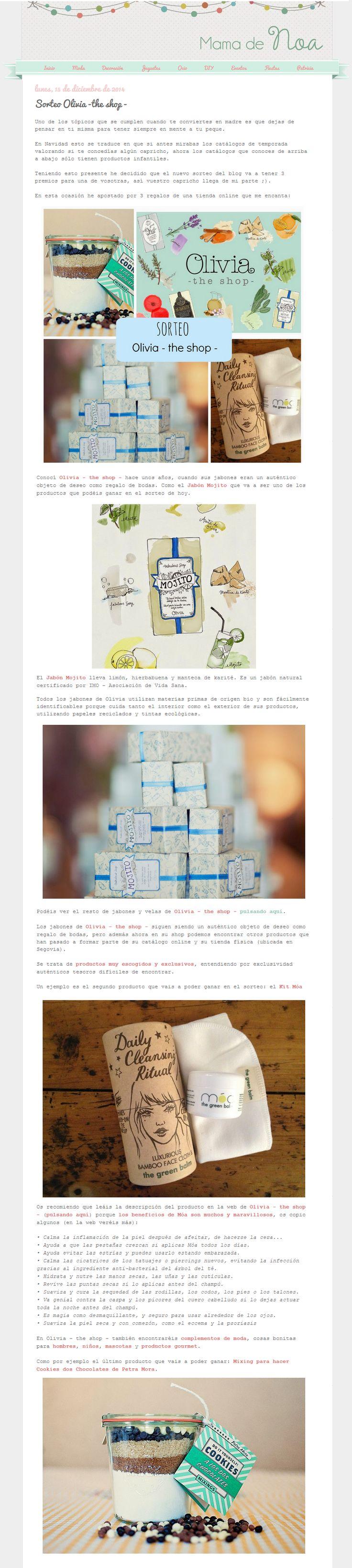 """Blog Mamá de Noa, 15 de diciembre de 2014 """"Sorteo Olivia The Shop"""" http://mamadenoa.blogspot.com.es/2014/12/sorteo-olivia-the-shop-blog-infantil-mama-de-noa.html"""