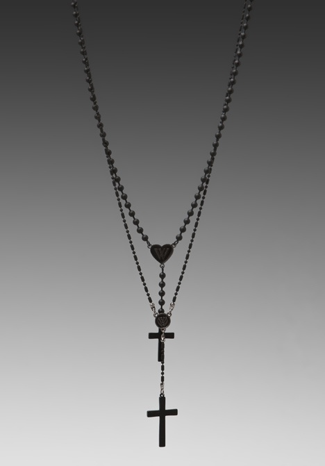 WILDFOX COUTURE Rosary Necklace in Matte Black