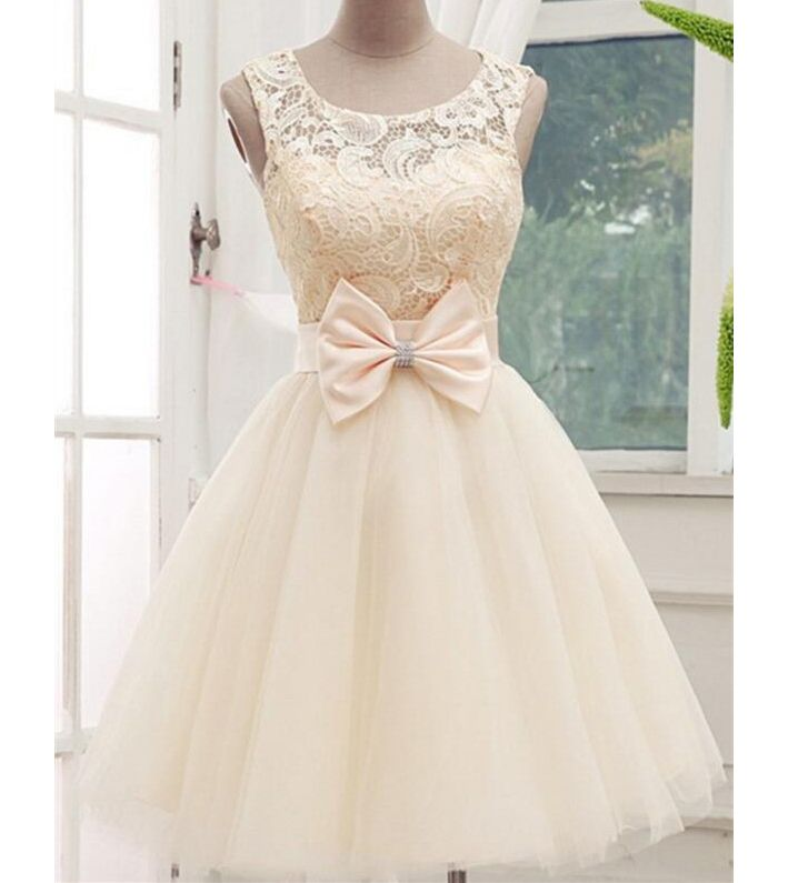 Champagne Scoop Neckline Homecoming Dresses with Bowknot,Cheap Lace Top Sleeveless Tulle Homecoming Gown,Short Prom Dresses,Graduation Dress,H102