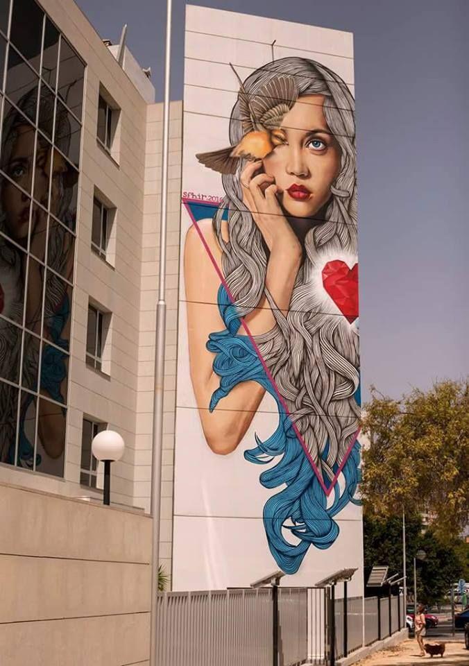Sfhir street artist from spain . Mural in Alicante