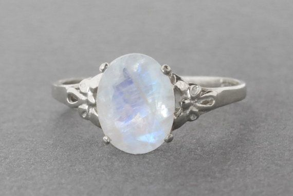 Oval moonstone silver ring moonstone engagement ring by SivanLotan