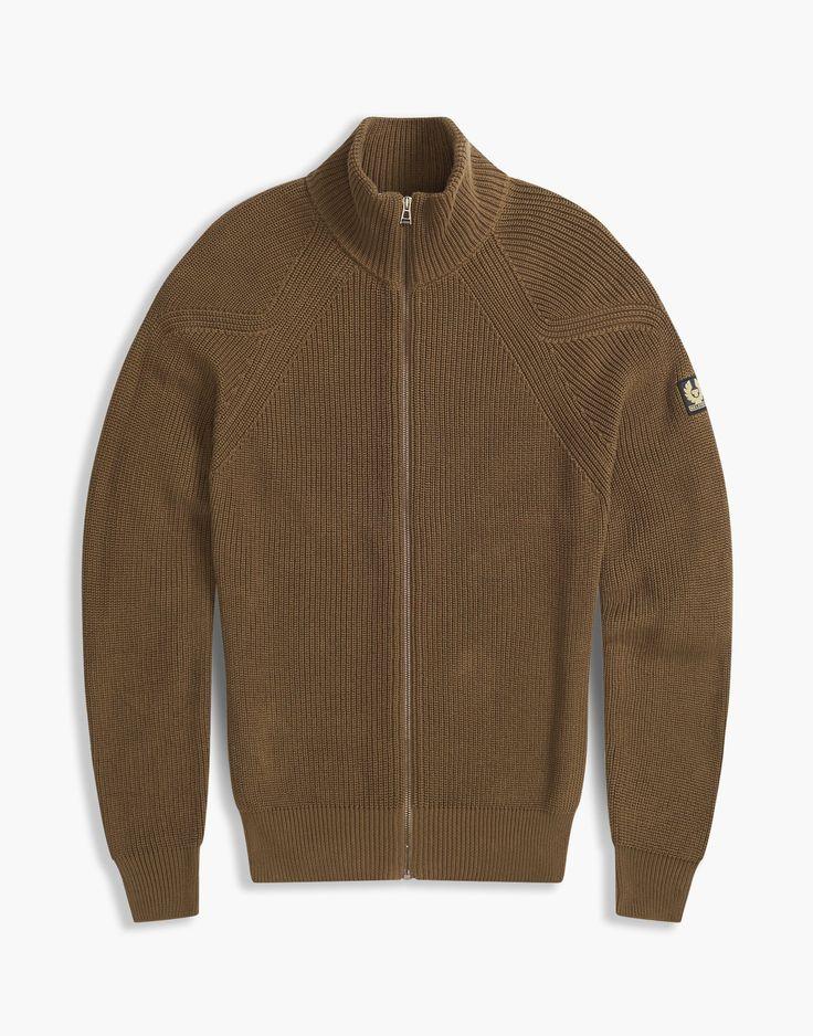 Belstaff Parkgate Zip Up Cardigan | Mens Cotton Knitwear