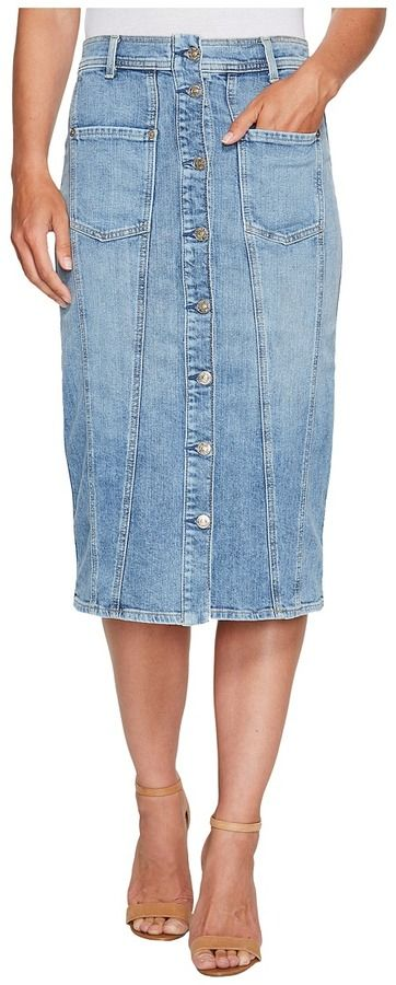 7 For All Mankind Button Front Pieced Skirt in Rockaway Beach 2 Women's Skirt