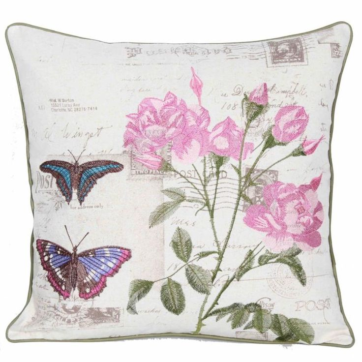 Butterfly & Roses Cushion - Vista Blinds Printed and Piped Cushion. 45cm x 45cm.