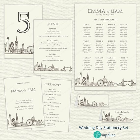 Wedding Day Reception Set  London Skyline printable Wedding Stationery including order of service, menu, table plan, table numbers and place cards. Digital downloads - a print service is also available. Click through for details.  More coordinating designs are also available from hfcSupplies Etsy. #LondonWedding #PrintableWeddingStationery