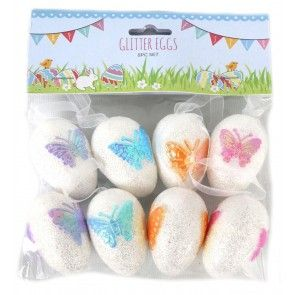 Set Of 8 Glitter Hanging Easter Eggs With Butterfly Decoration