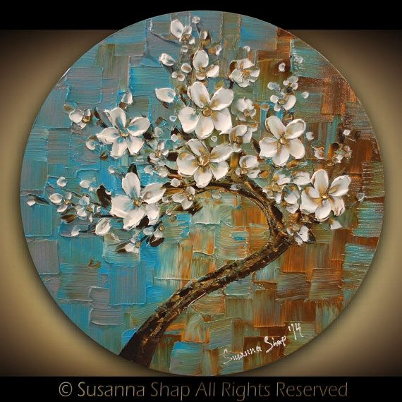 ORIGINAL Tree Painting Abstract White Cherry Blossom Textured Modern Circle Art by Susanna