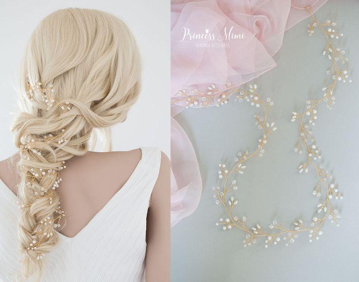 Haarschmuck & Kopfputz - Braut Haarschmuck Perlen Haardraht Zopf Schmuck XL - ein Designerstück von Princess_Mimi bei DaWanda