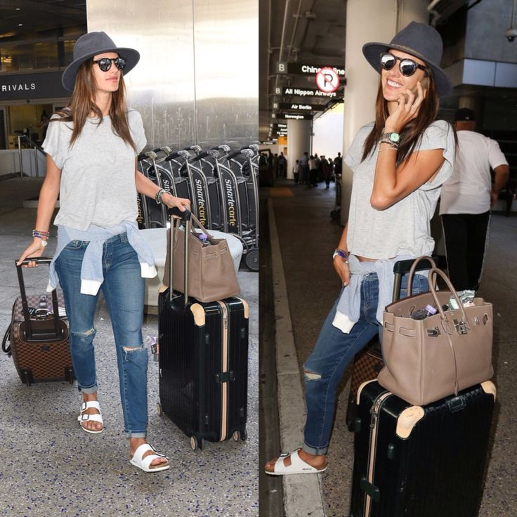 Supermodels love Birkenstock! Victoria's Secret model Alessandra Ambrosio sported the white Birkenstock Arizona on her traveling day.