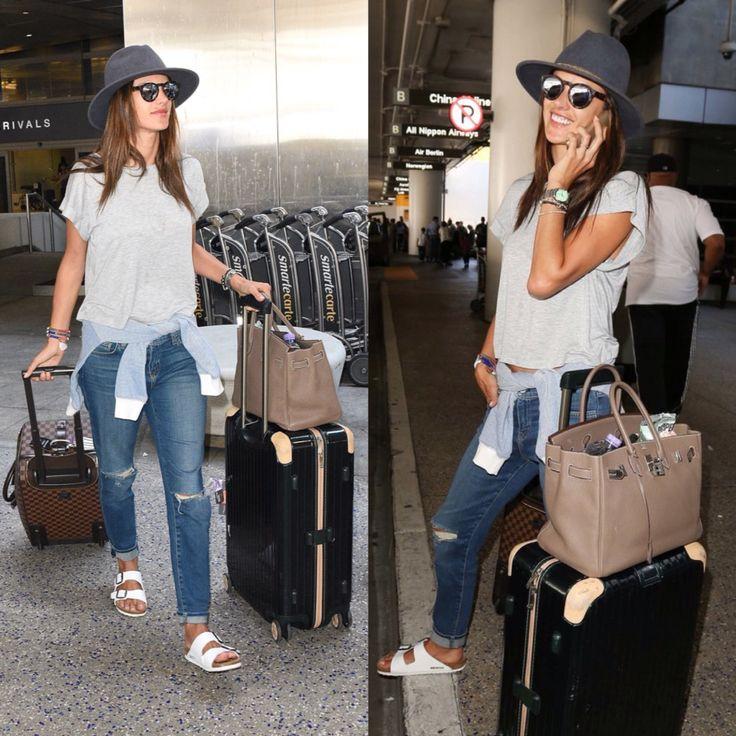 Supermodels love Birkenstock! Victoria's Secret model Alessandra Ambrosio sported the white Birkenstock Arizona on her traveling day.
