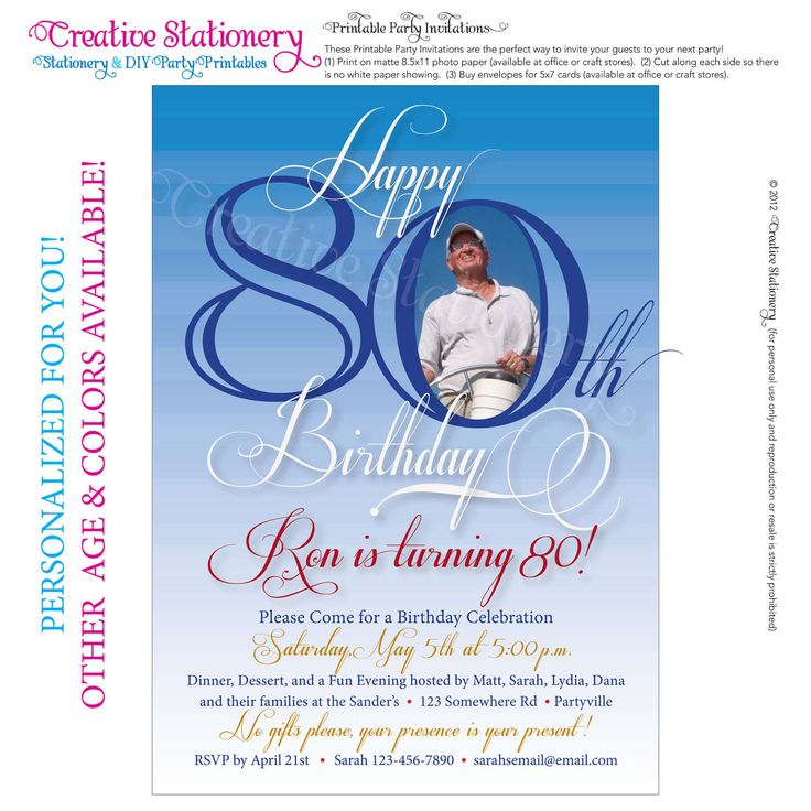 39 best Josieu0027s 80 th birthday images on Pinterest Cards, At - birthday invite templates free to download