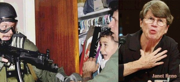 """Janet Wood Reno pasó sus últimos días rodeada de familiares y amigos en su casa de Miami. En la foto de la izquierda, un militar federal durante la operacion de captura del """"balserito"""" cubano Elian Gonzalez, de 5 años de edad."""