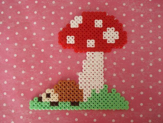 Hedgehog under a mushroom Hama perler bead