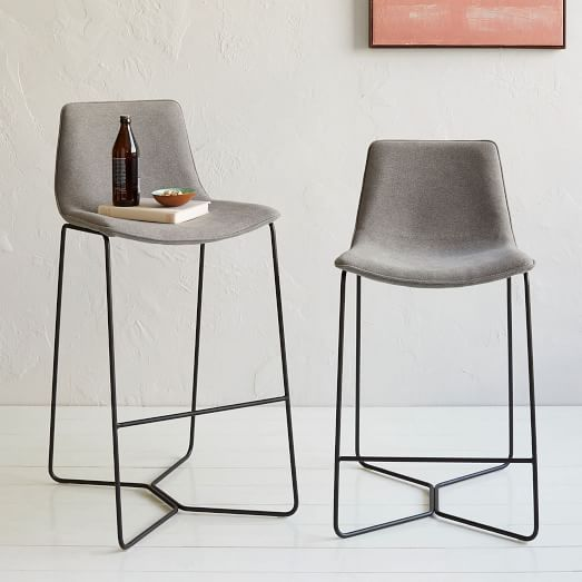 Slope Upholstered Bar + Counter Stools $269  steel legs in charcoal/ upholstery in heather grey | west elm