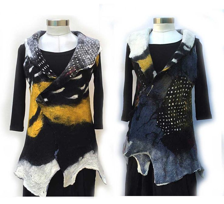 Nuno Felt Artist Vest, Merino Wool Women Vest ,Reversible vest ,Black Yellow White