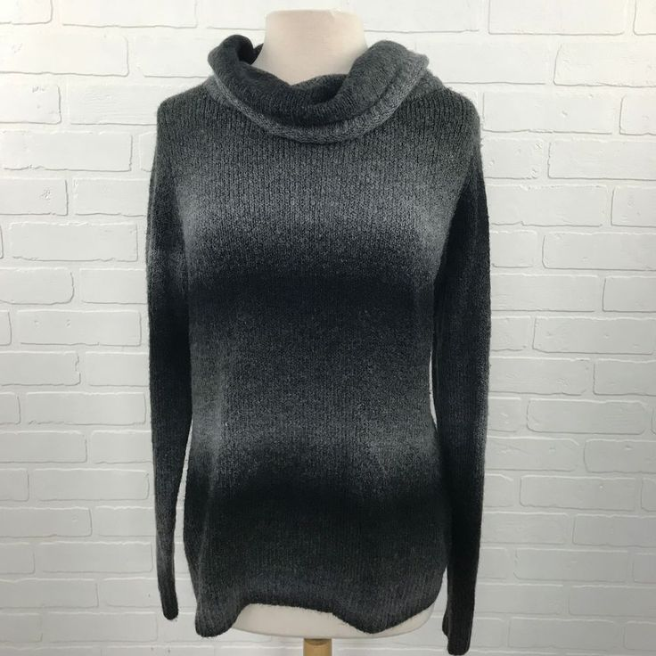 Black Gray Cowl Neck Sweater Women's XL 16-18 Work Office Casual Professional Bu #WhiteStag #Sweater