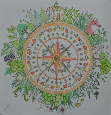 Johanna Basford: Enchanted Forest coloring book -  compass