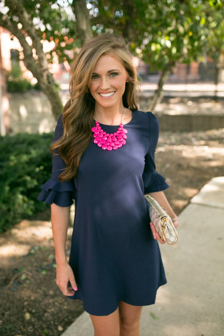 Magnolia Boutique Indianapolis - Southern Charmer 3/4 Sleeve Dress - Navy, $39.00 (http://www.indiefashionboutique.com/southern-charmer-3-4-sleeve-dress-navy/)