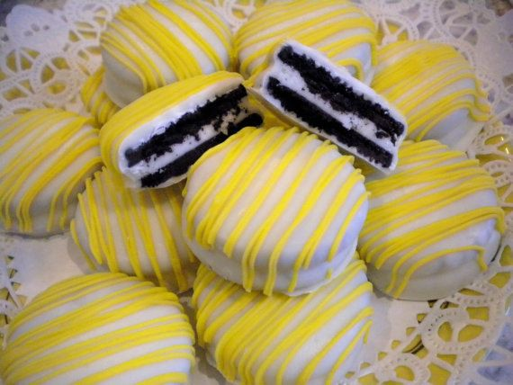 CUSTOM Listing For Tara Yellow Sunshine White Chocolate Covered Oreos Cookies You Are My Sunshine Party Theme Party Favors. $32.00, via Etsy.