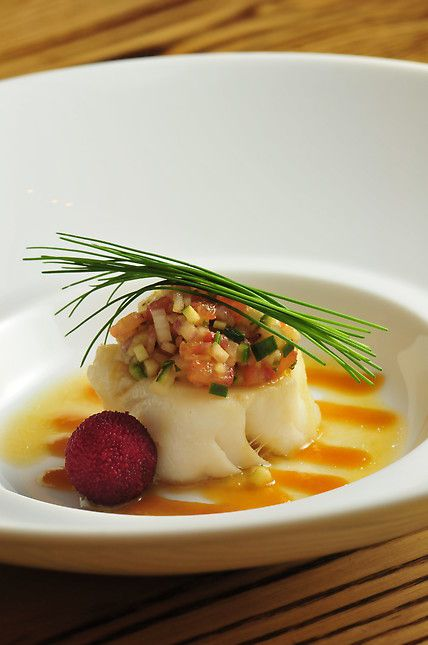 Steamed Chilian sea bass with Las Vegas salsa en miso - Chef Chase Kojima of Nobu - Las Vegas, NV | StarChefs.com