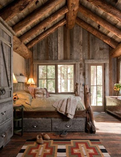 I want a cabin in the woods with a bedroom like this!
