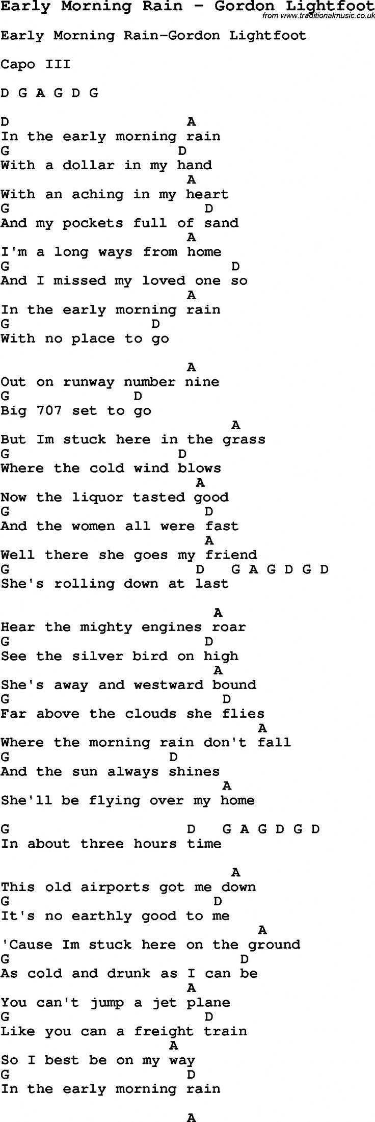 Song Early Morning Rain by Gordon Lightfoot, with lyrics