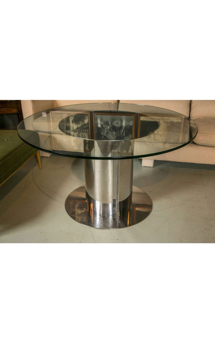1980s Chrome And Glass Round Dining Table Part 44