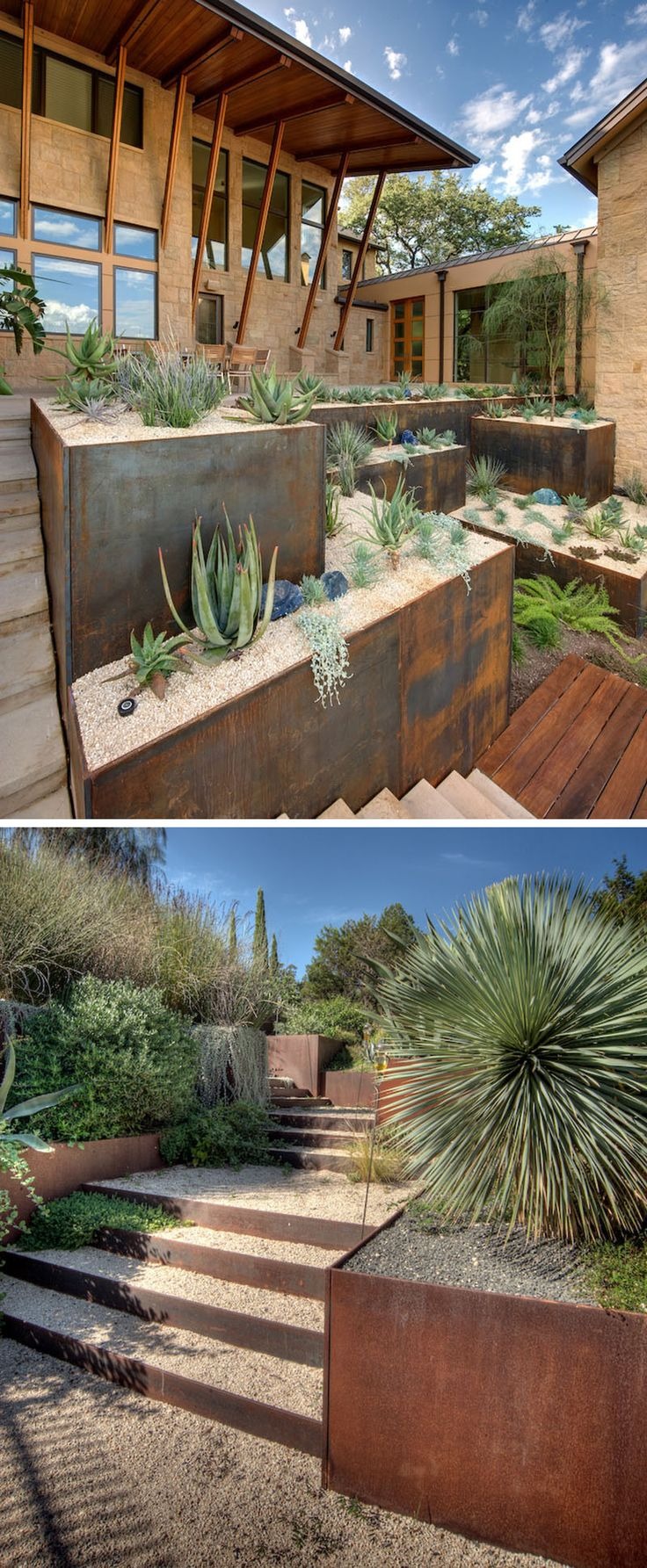 9 Ideas For Including Weathering Steel Planters In Your Garden // The use of succulents and other desert plants in these weathered steel planters create a low maintenance garden that looks good all year round.